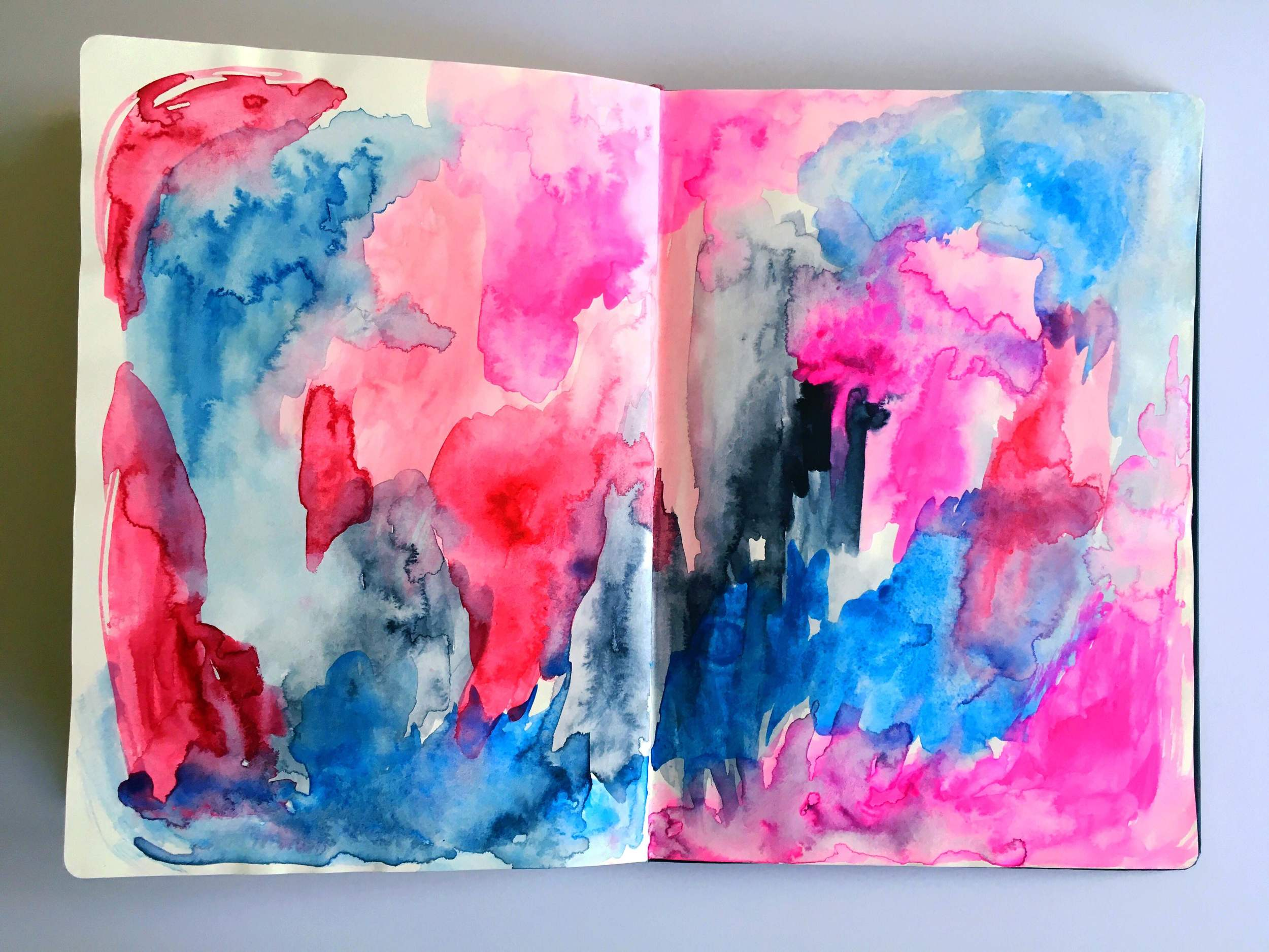 abstract pink navy watercolor
