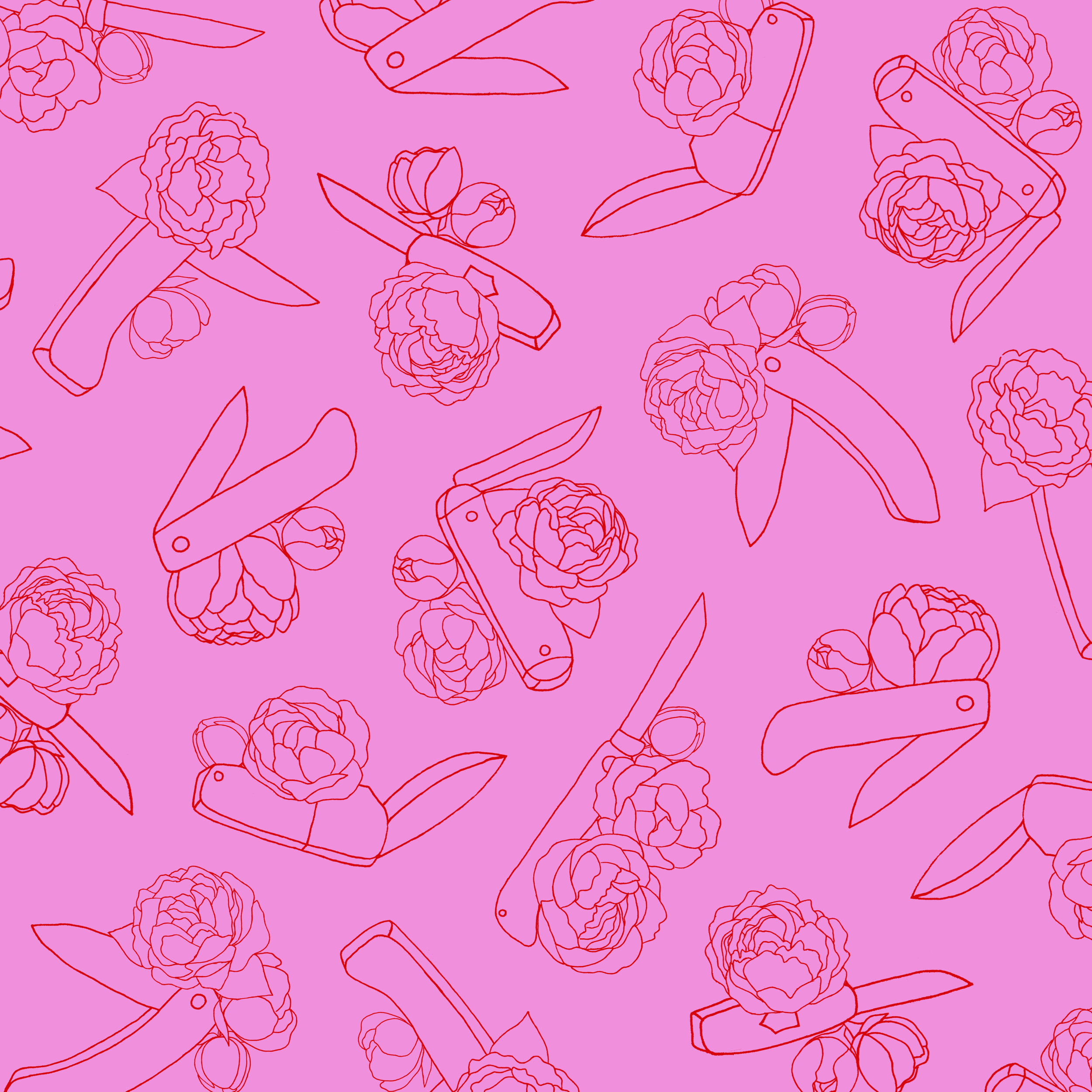 peonies and switchblades pattern