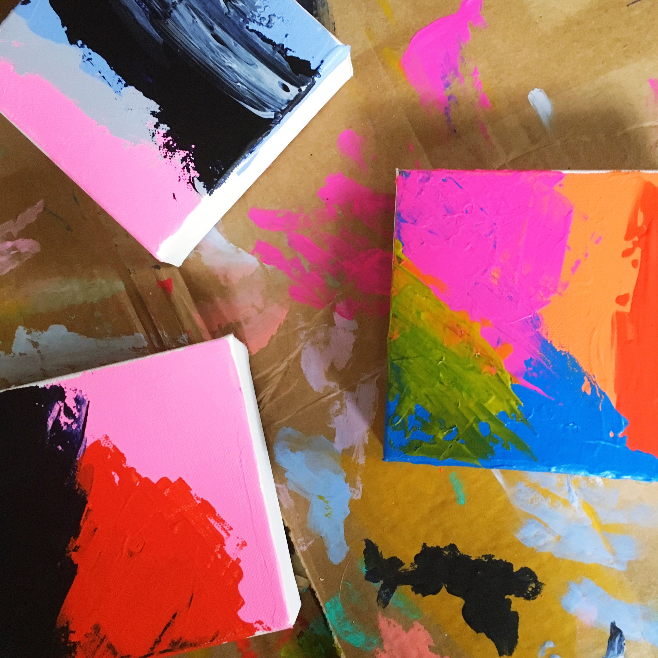 abstract 5x5 painting process