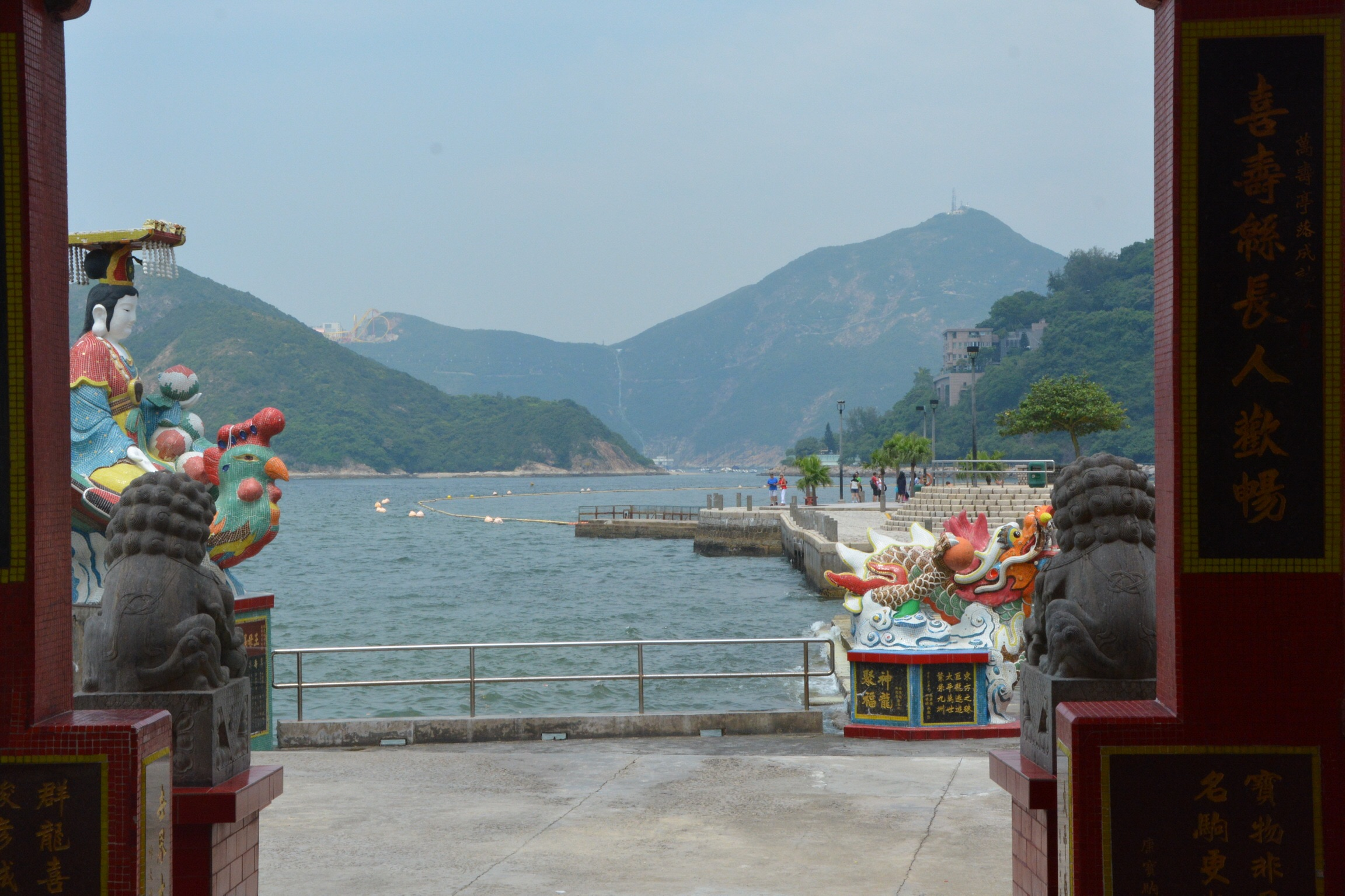 Temples, statues and a view of Repulse Bay.