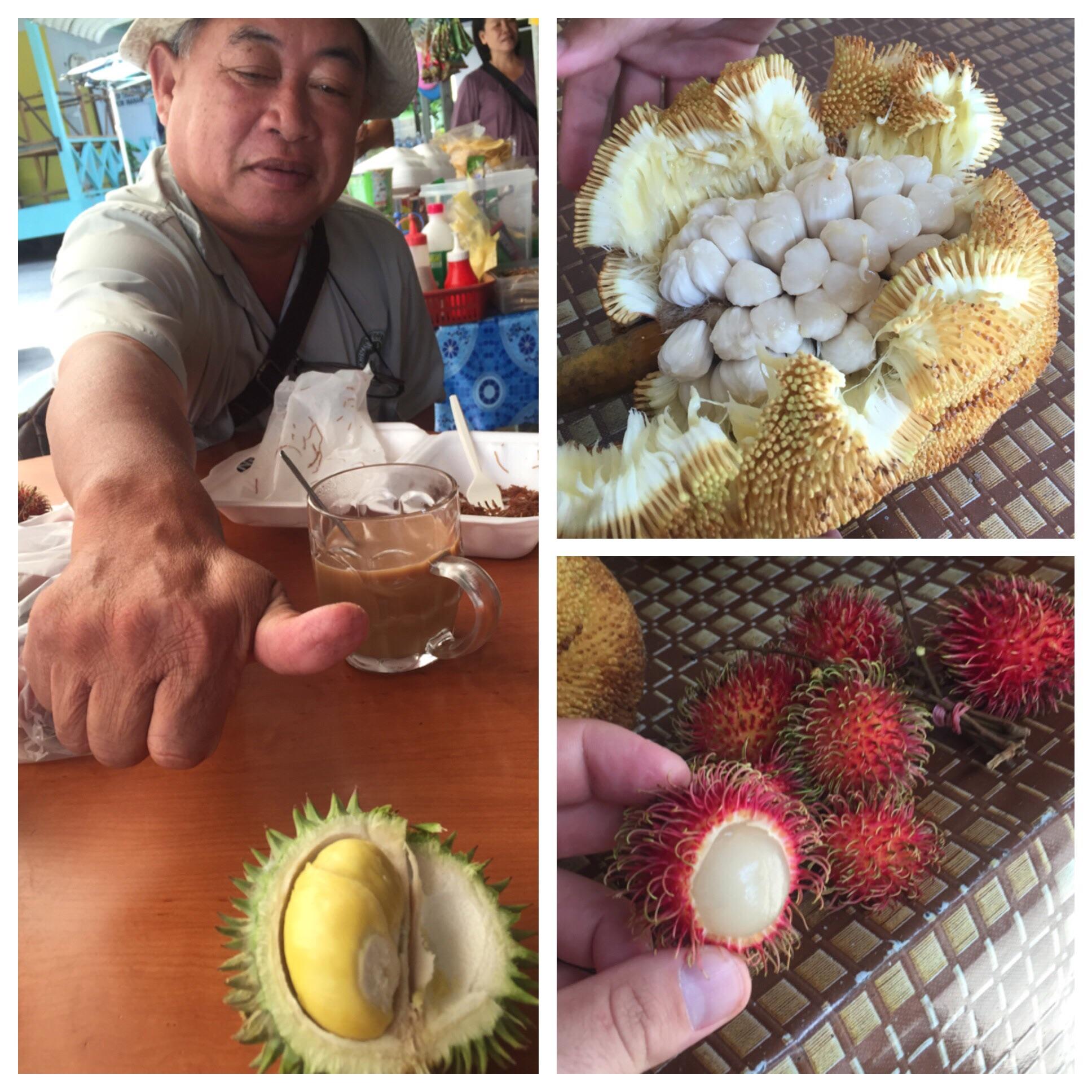 Durian with Ipus for scale (left); Breadfruit (top); Rambutan (bottom)
