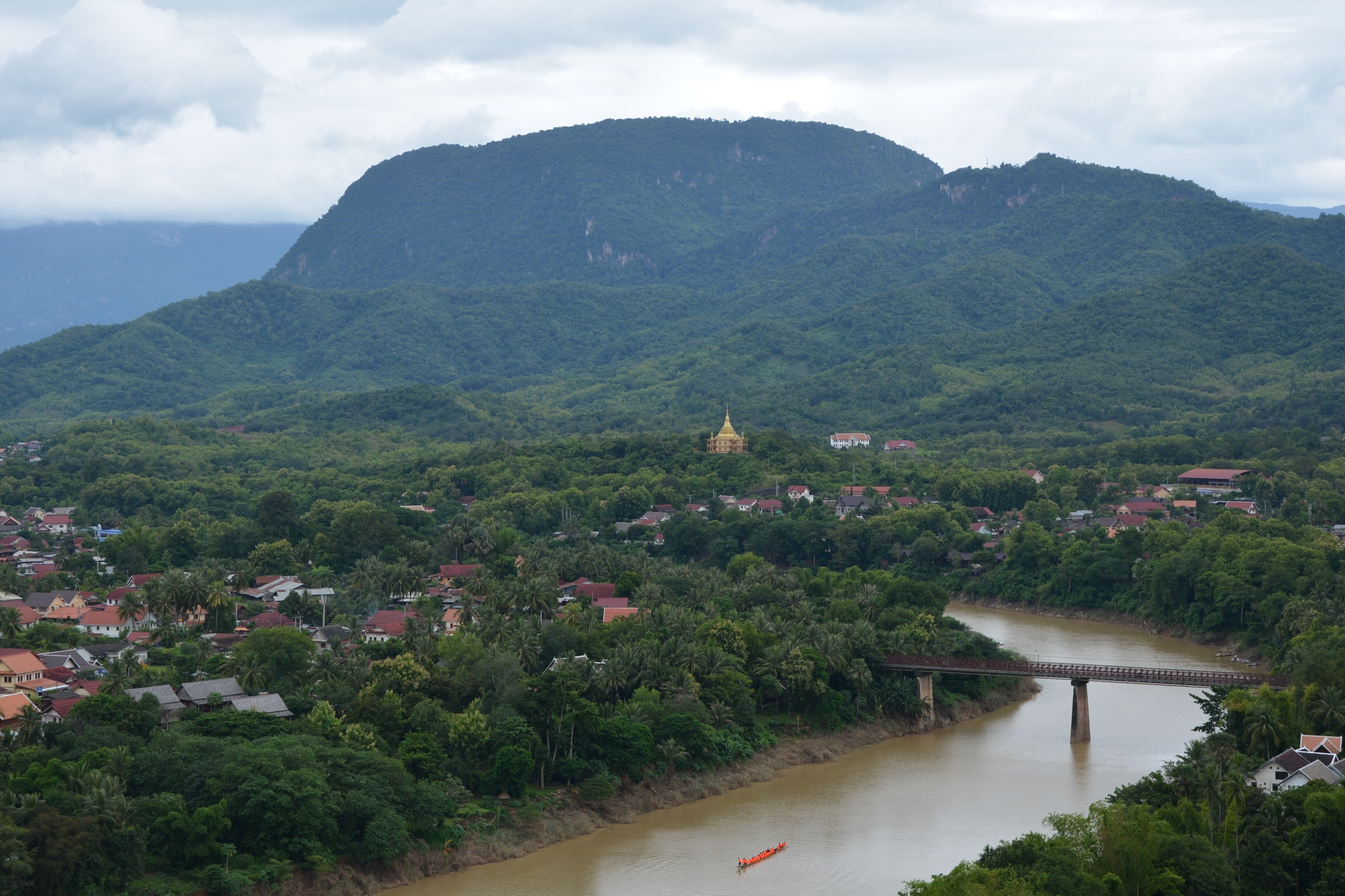 View of the Nam Khan River from Mount Phou Si