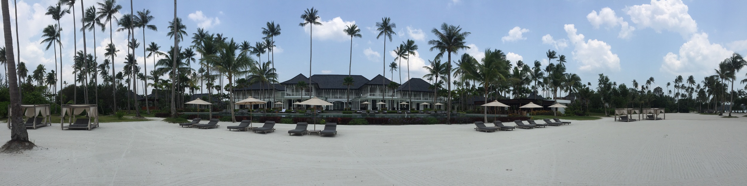 Bintan resort from the beach. Can you see the one towel? Yeah thats mine.