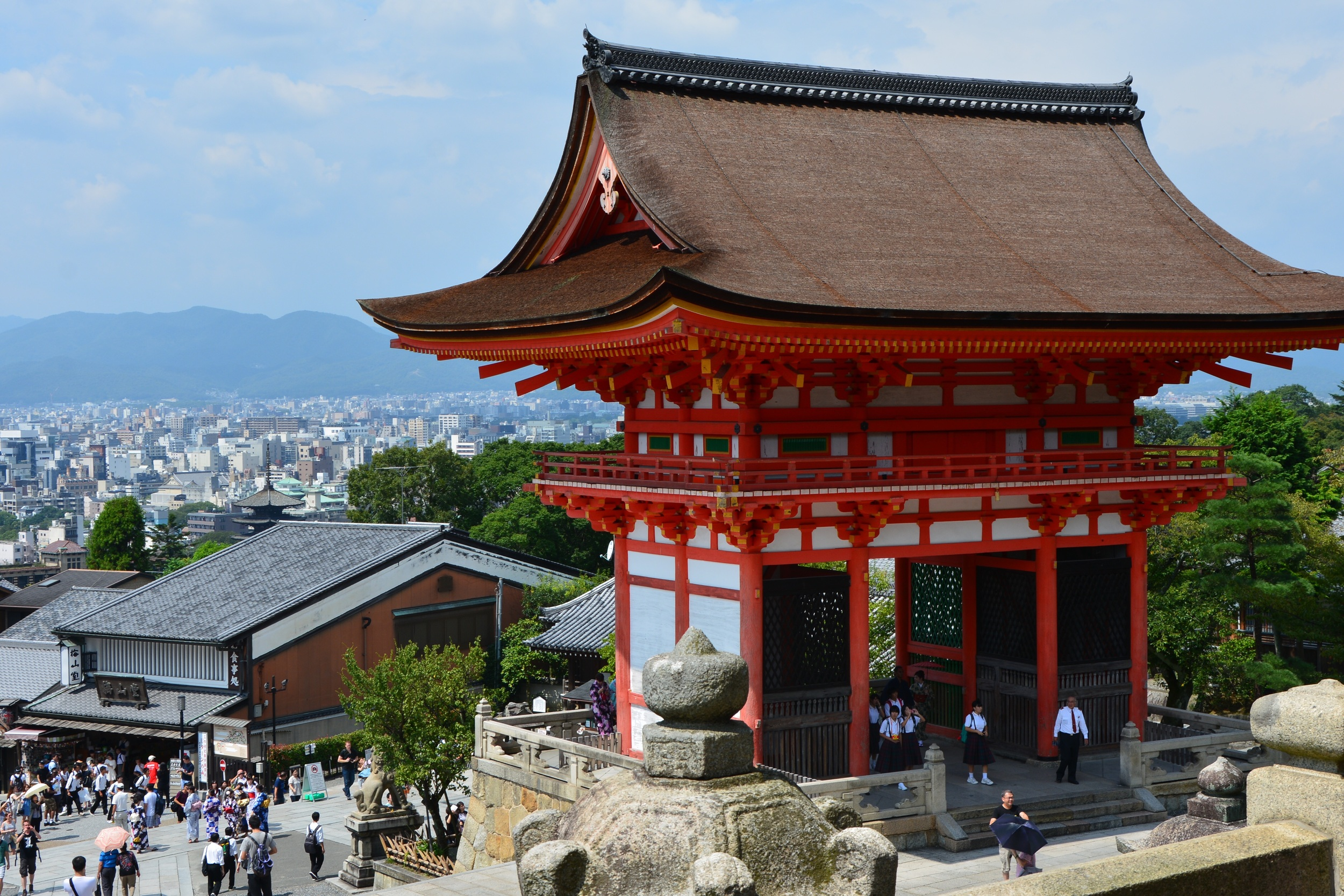 Kiyomizudera Temple and view from the hill of central Kyoto