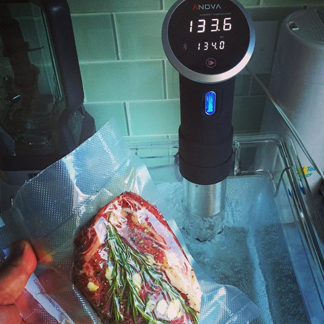 Trying out the new sous vide setup on a @butcherlarder ribeye. #sousvide