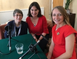 Helen records podcast on the gender pay gap