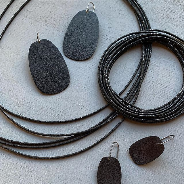 subtle sparkles, coming soon :) enamel on steel and our beloved japanese glass beads.