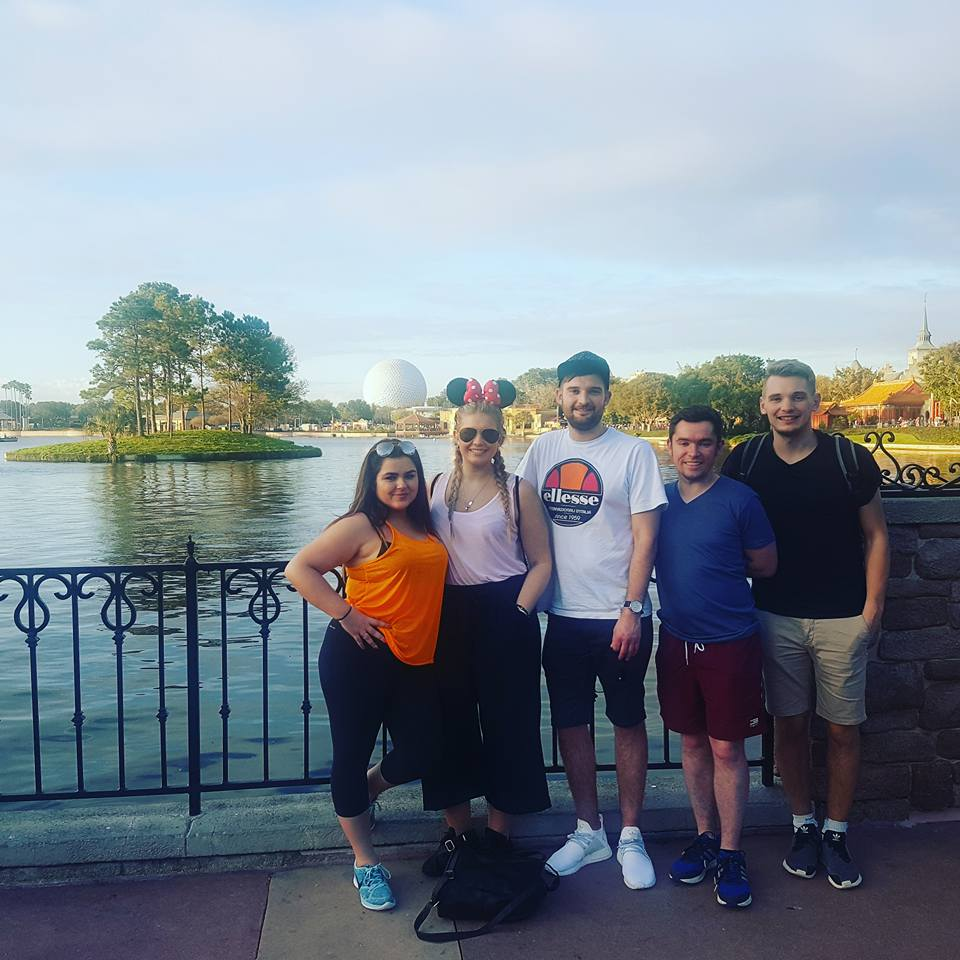 The one photo of the five of us at Epcot