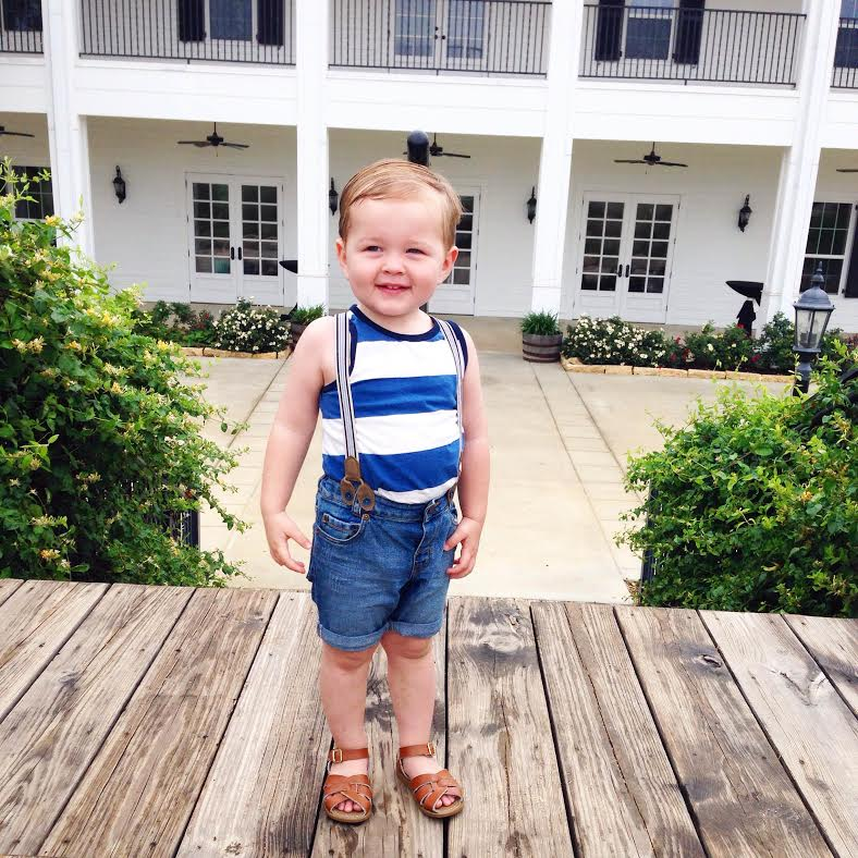tank:   H&M  , shorts/suspenders:   H&M  , shoes: Salt Waters via Nordstrom
