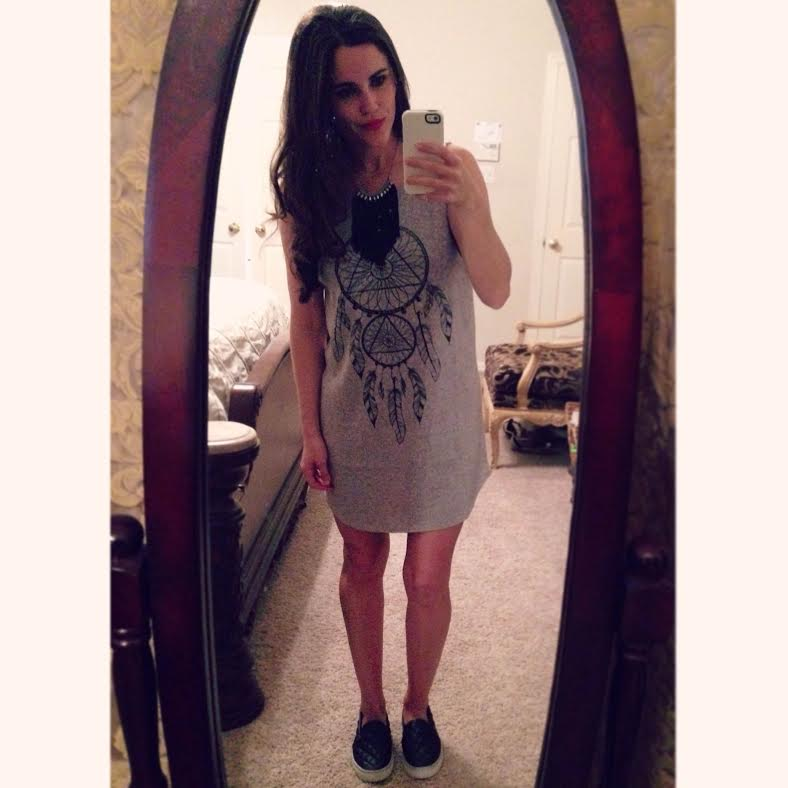 dreamcatcher tunic:   Forever21  , shoes:   Steve Madden  , necklace: Forever 21 (similar   here  )