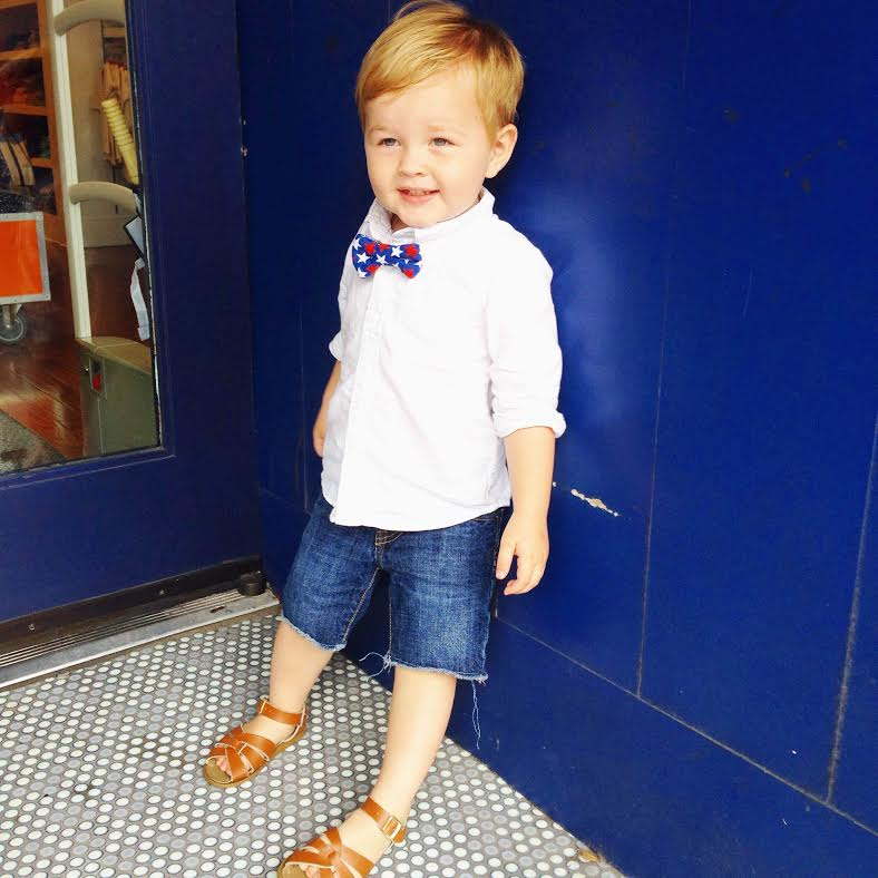 patriotic bow tie:   Where is Simon  , shoes: Salt Waters via Nordstrom (in store only), shorts:   Baby Gap  , shirt:   Old Navy