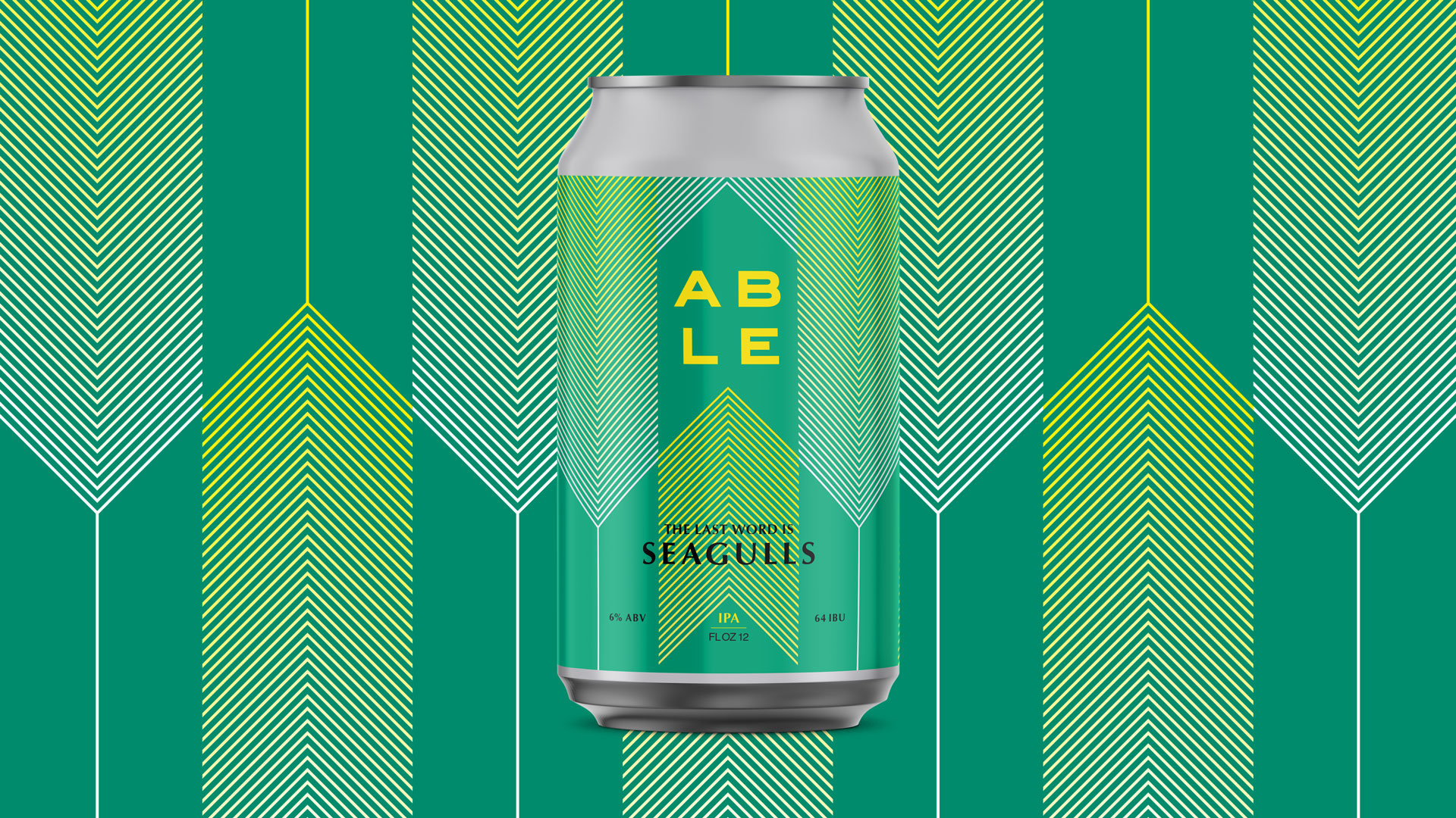 Able beer can design work by Tony Buckland.