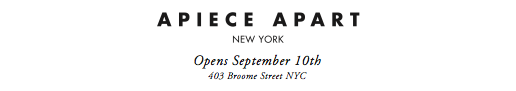 We are pleased to announce the opening of APIECE APART's pop-up shop! Open today through the end of December.