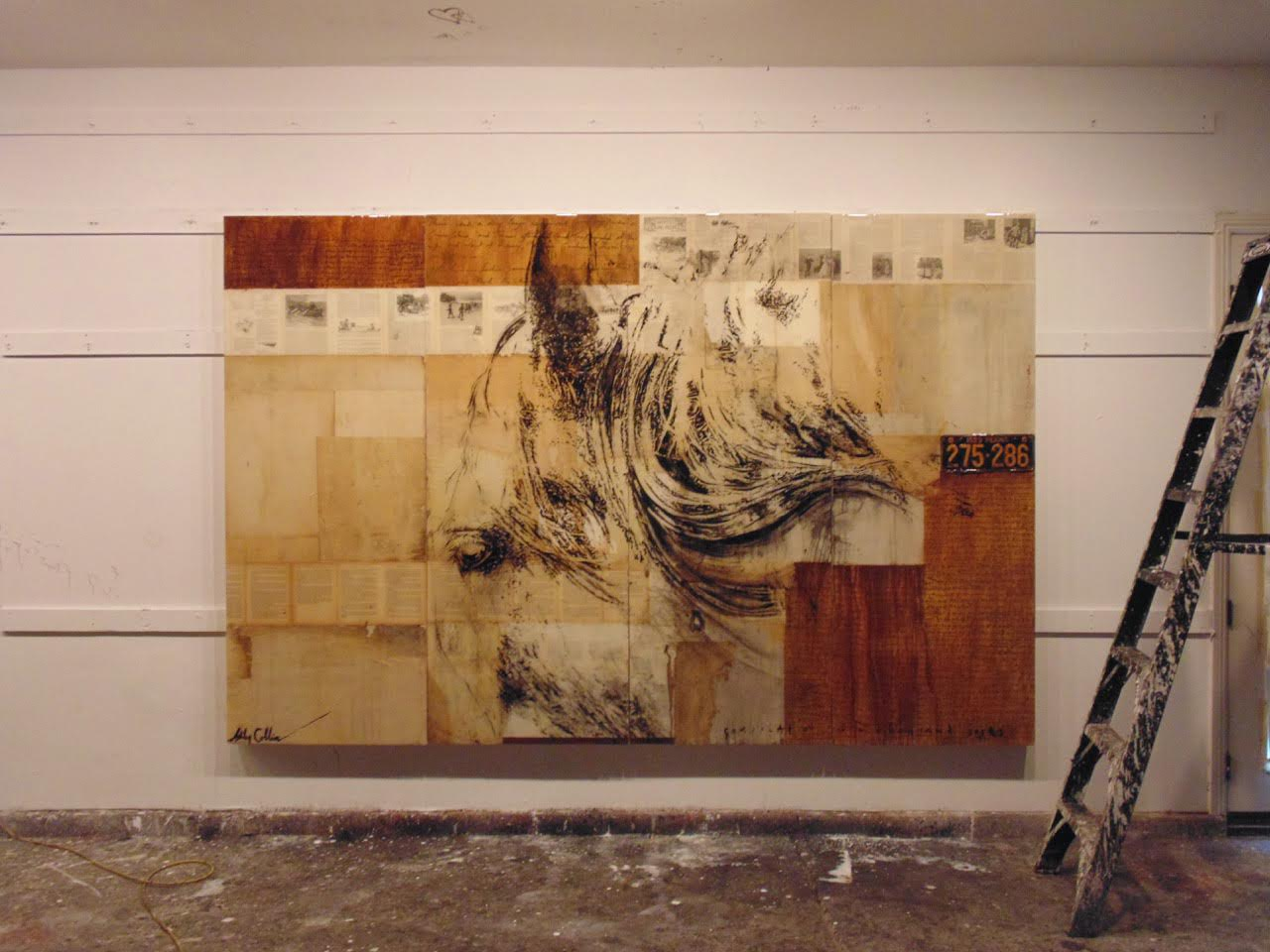 Knight , mixed media, oil, resin on panel, 5 x 7 feet  view work here