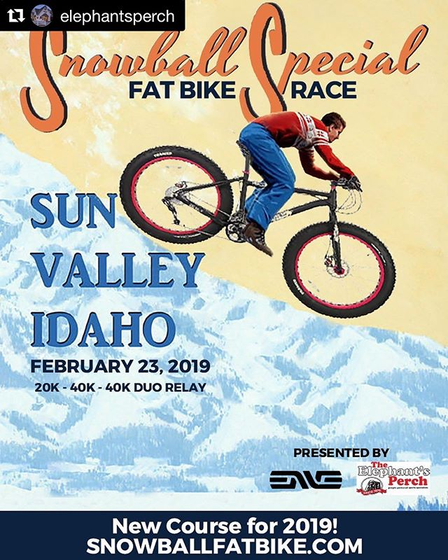 #Repost @elephantsperch with @get_repost ・・・ The Snowball Special fatbike race is back for 2019! Head to Sun Valley Nordic Center on Sat., Feb. 23, and race around an exhilarating and all-new course, with 20k, 40k and 40k-relay options! Register at snowballfatbike.com. Registration closes at 5 p.m. on Fri., Feb. 22.  @sunvalley @envecomposites  #Fatbike #Fatbiking #Snowbike #Snowbiking #SunValley #Ketchum #Idaho #Race #Winter #Snow #Cycling #SnowballSpecial