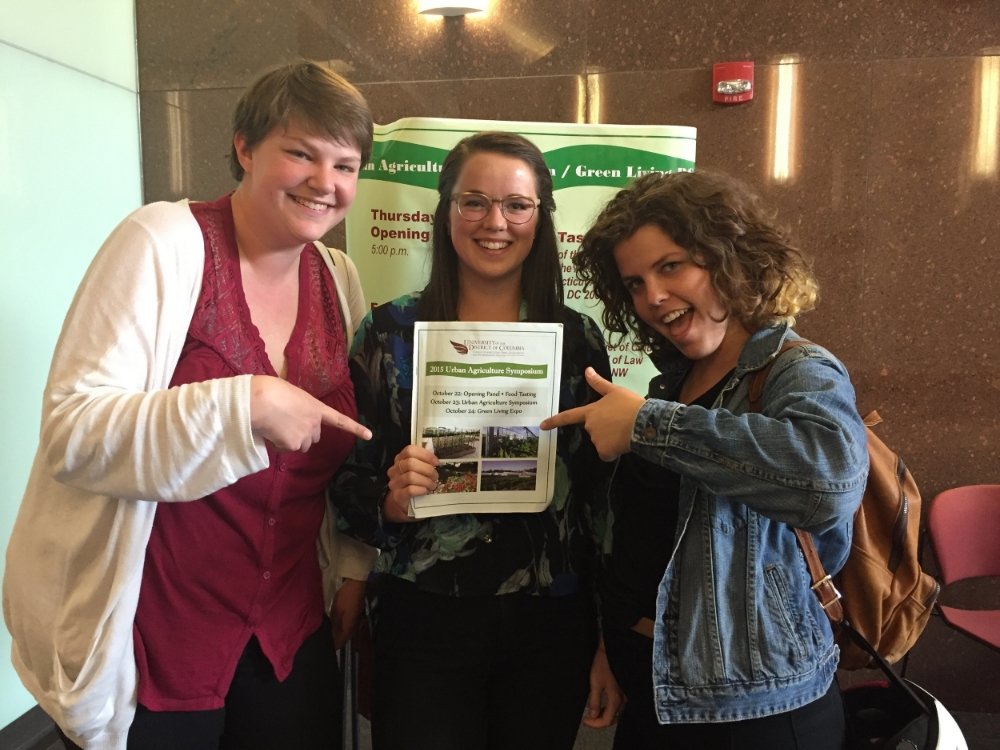 Erin, Cassidy, and HC at the 2015 Urban Agriculture Symposium at the UDC