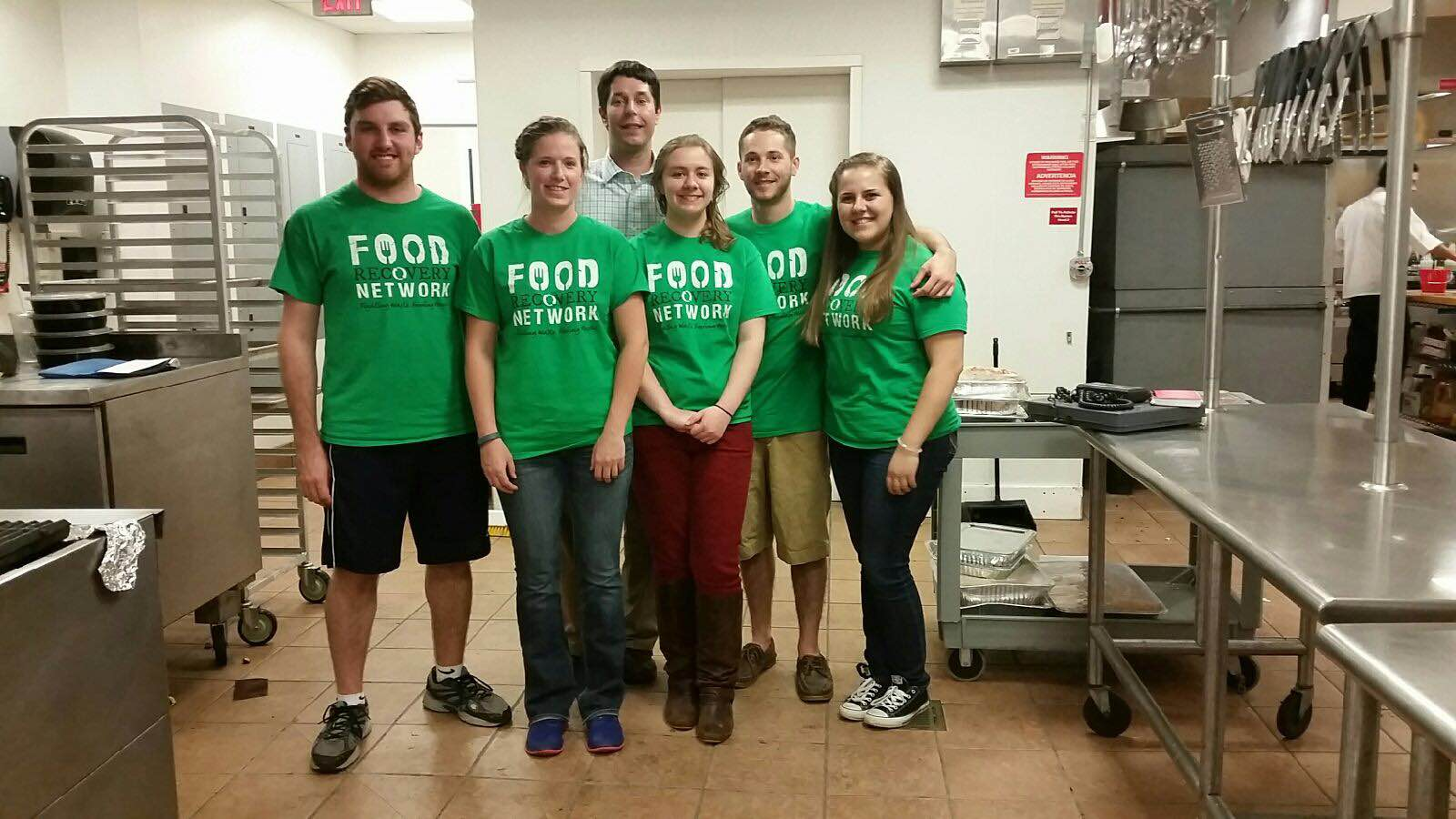 Roger Williams University's chapter takes a break from a recovery to snap a photo. (From left to right: Evan Cassani, Katie Boyd, Josh Henessey (food services director and chapter advisor), Kate Gladsky, Trevor Nelson, and Kelsey Rogers)