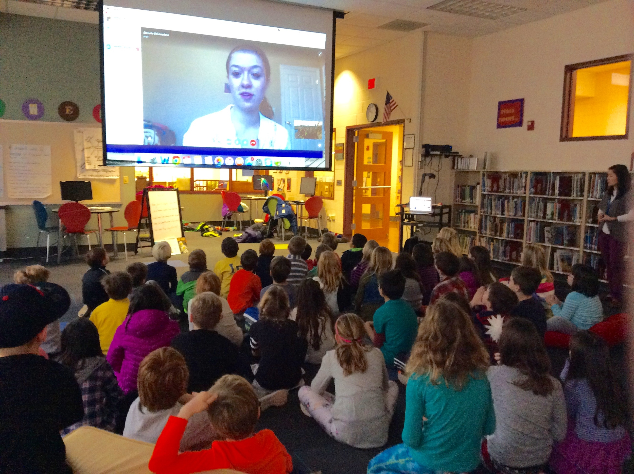 Danielle DiCristofano of University of Dayton's FRN chapter Skyping with a classroom of third graders at Sheridan Elementary in Dayton, Ohio.