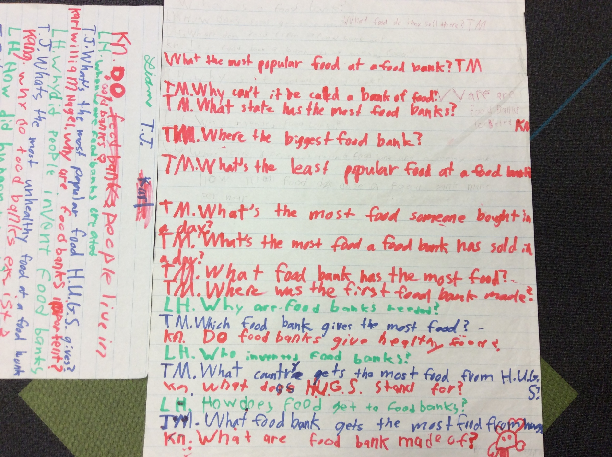 Questions the students prepared to asked Daneille.