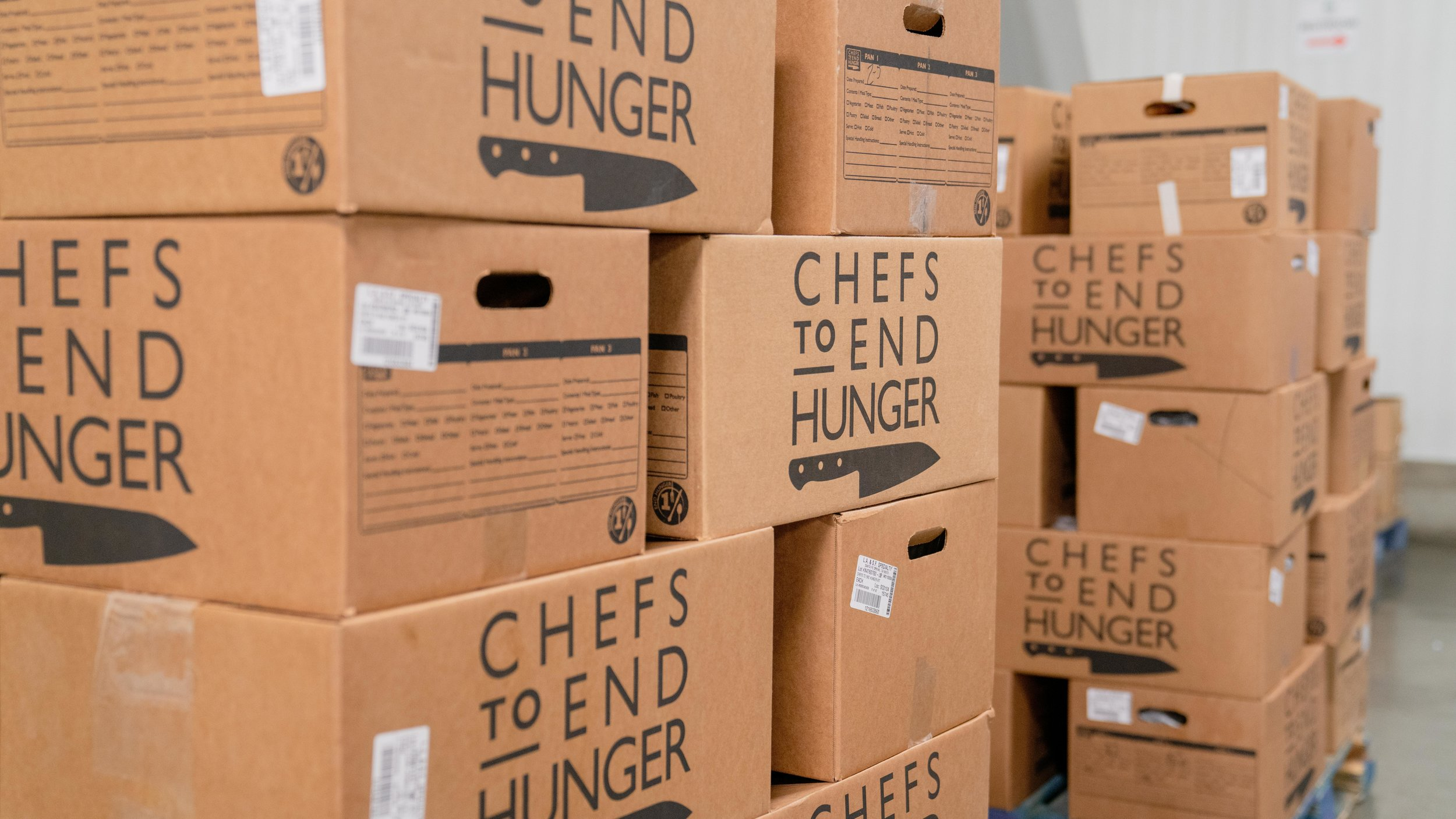 Just a taste of the thousands of Chefs to End Hunger boxes you'll find in one of their warehouses.
