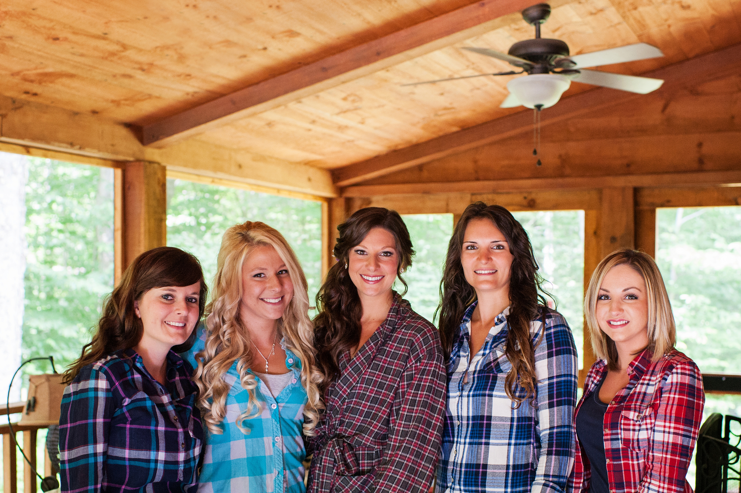 bride and sisters in plaid mountain wedding