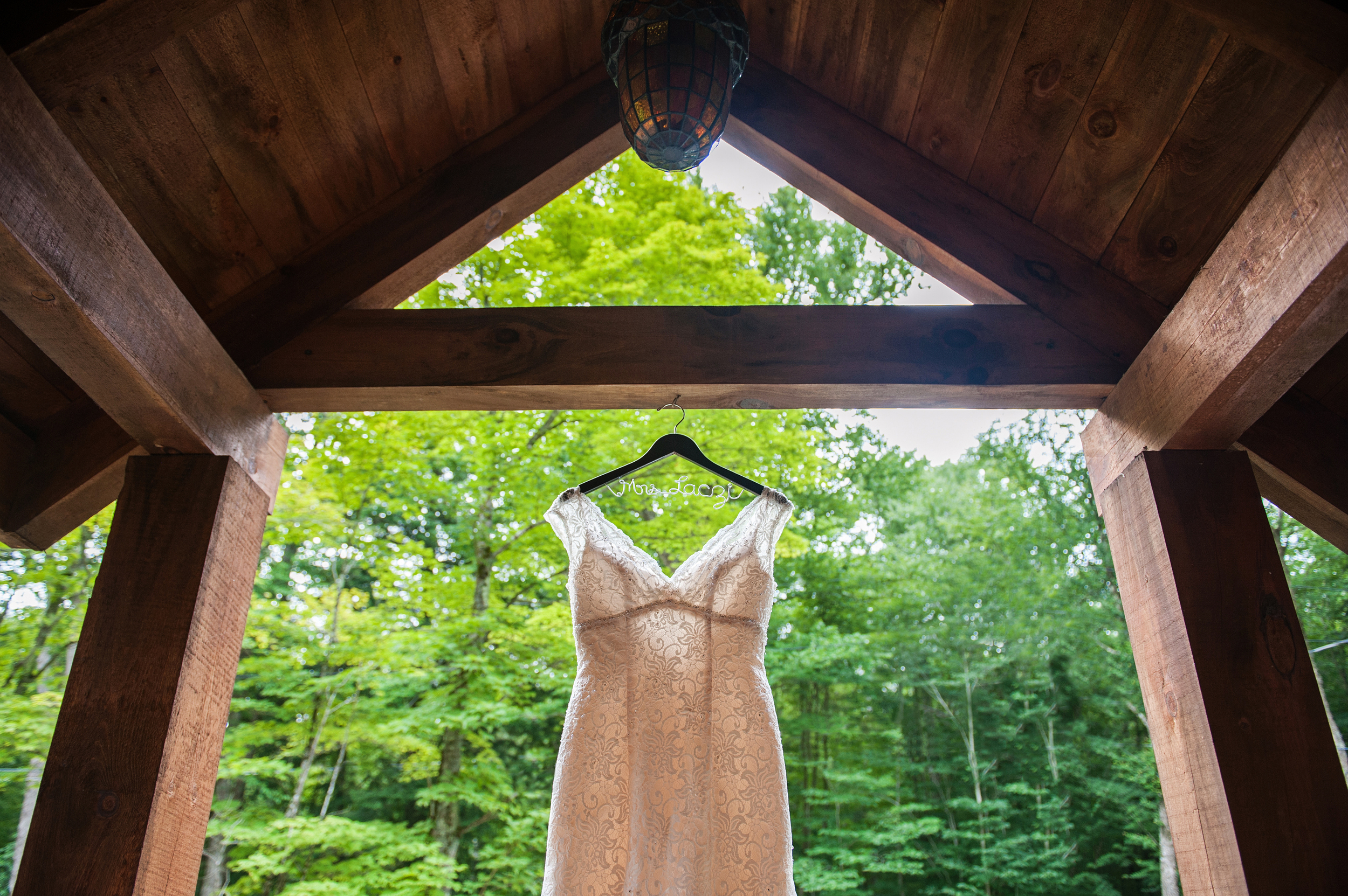 wedding dress front porch of cabin