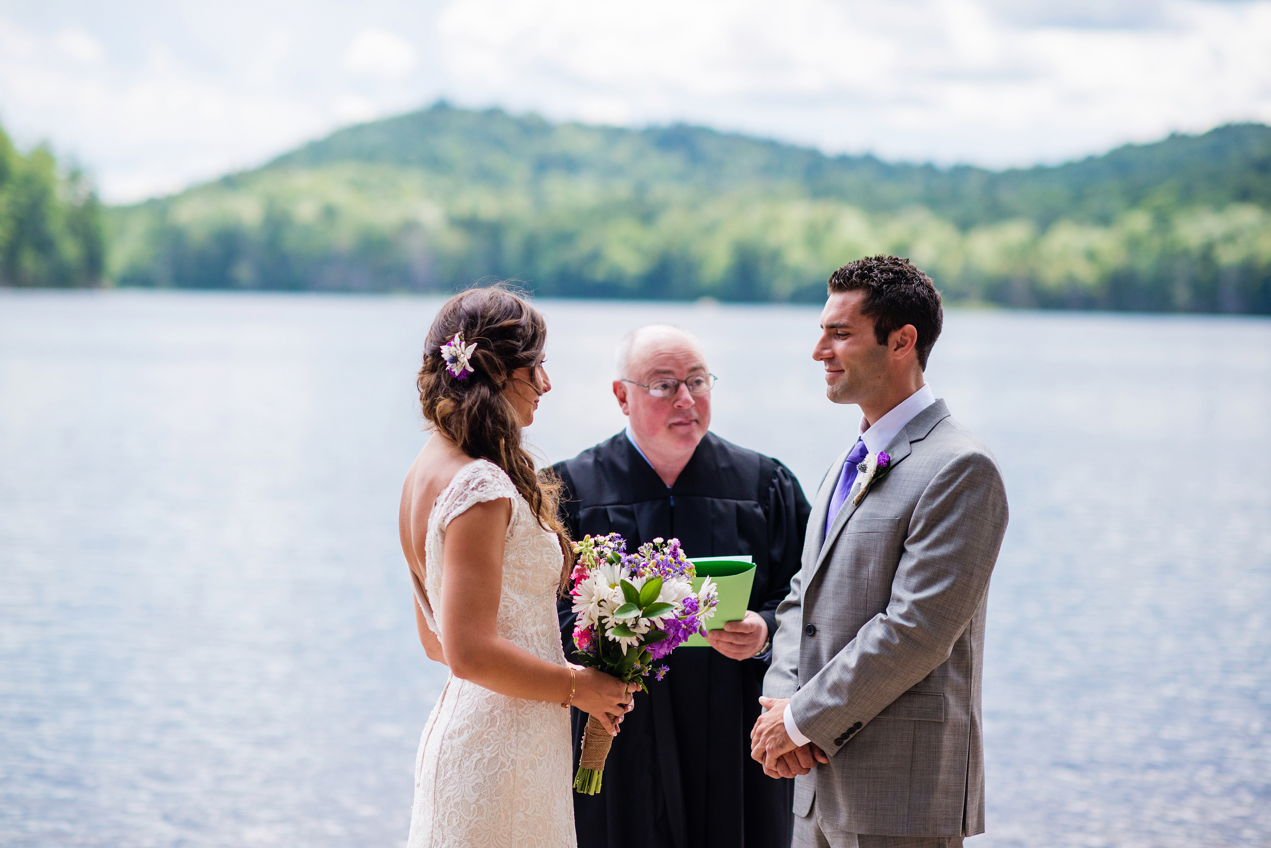 bride and groom adirondack wedding brown tract pond