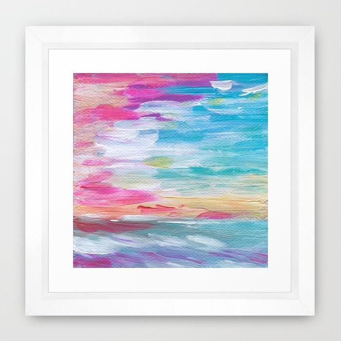 Neon Sunset Framed Art Print