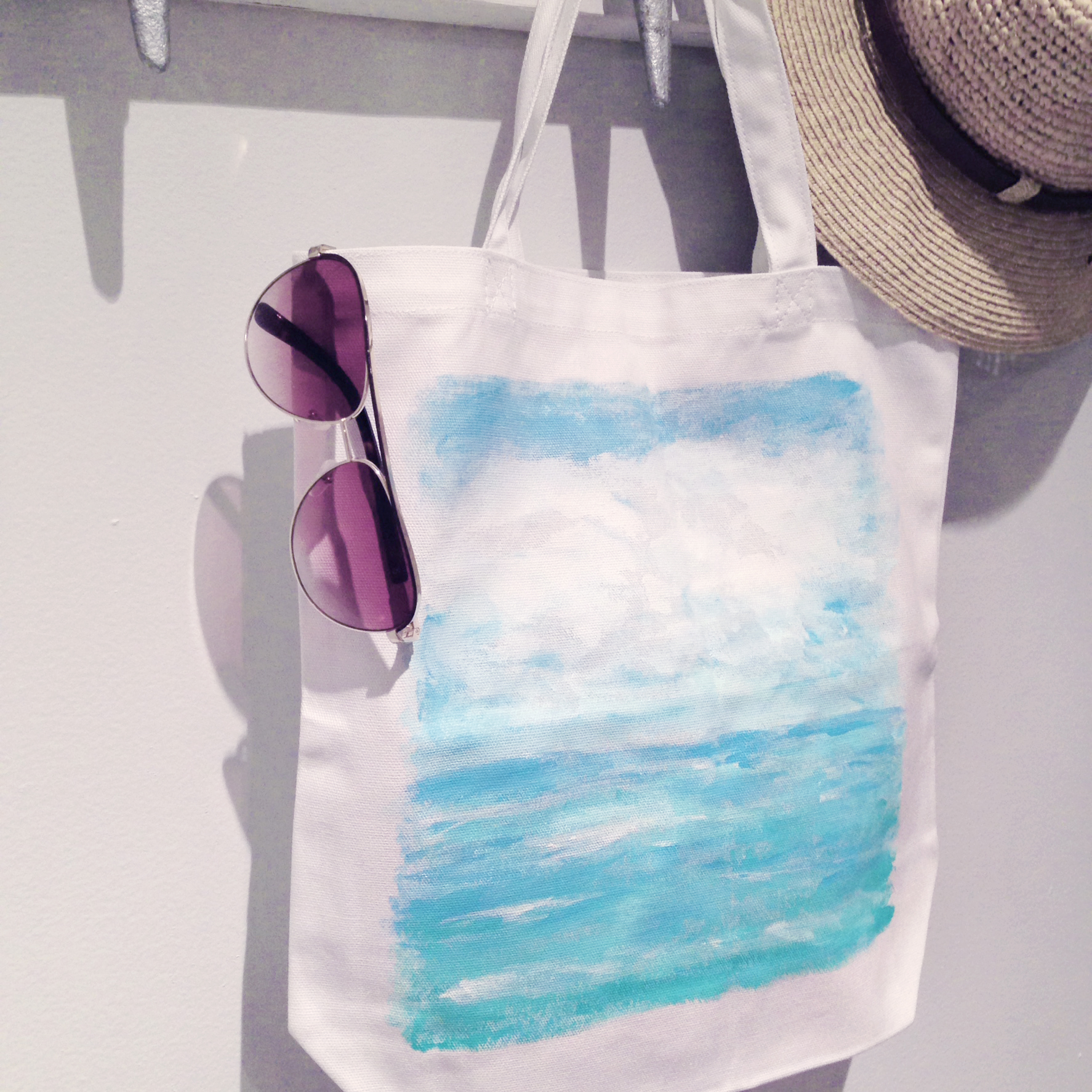 Sea Blues Tote Bag | Original Acrylic Painting on White Canvas Tote Bag | Hello Monday Design
