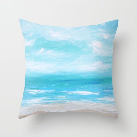 Hello Monday Sea Blue Throw Pillow