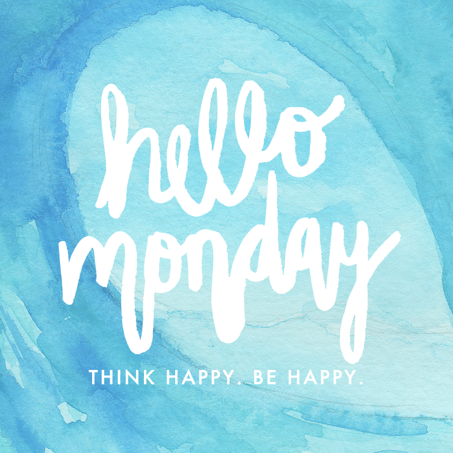 Hello Monday Quote - Think Happy. Be Happy. | Watercolor Handlettering | Watercolor Painting | Hello Monday Design
