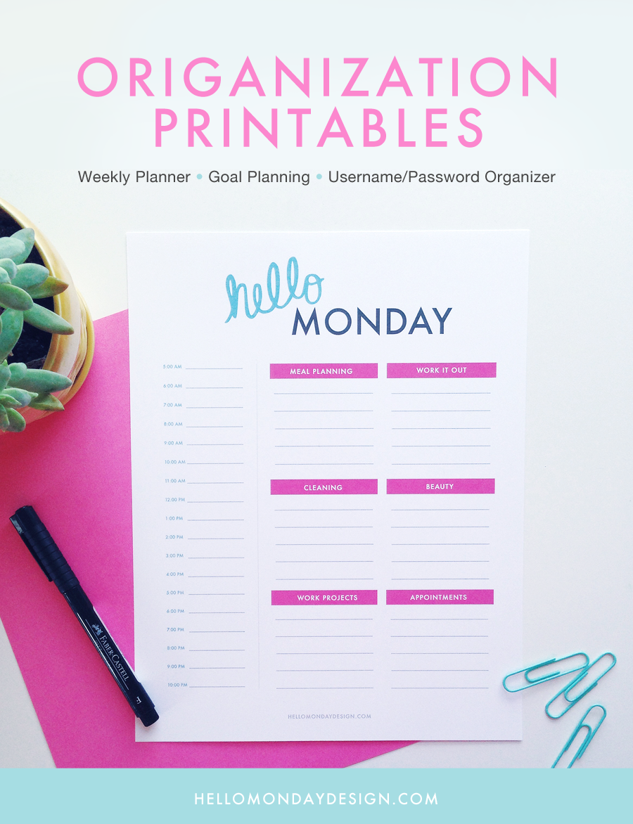 Free Organization Printables by Hello Monday Design