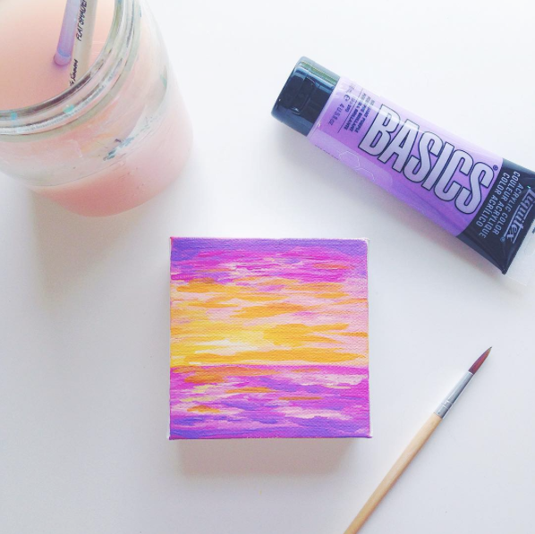 Purple Seascape | Acrylic Painting by Hello Monday Design