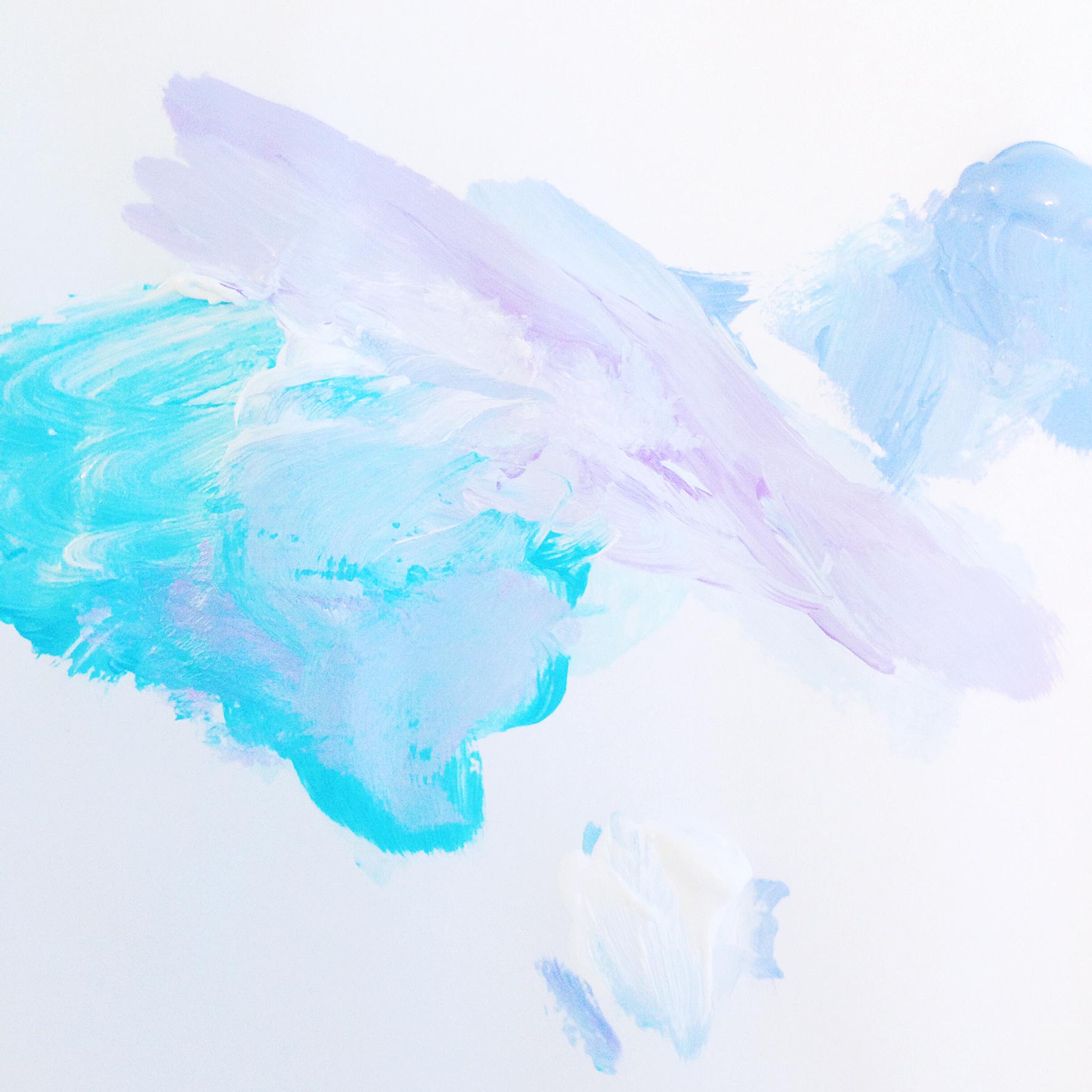 "Lilac Seascape | 3""x3"" Mini Original Acrylic Painting by Hello Monday Design | Color Pallet"
