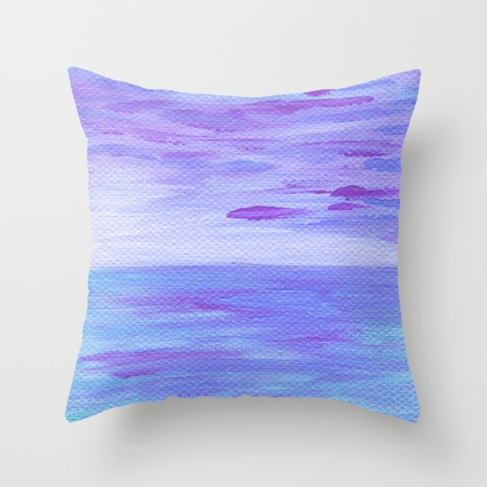 Lilac Seascape Throw Pillow