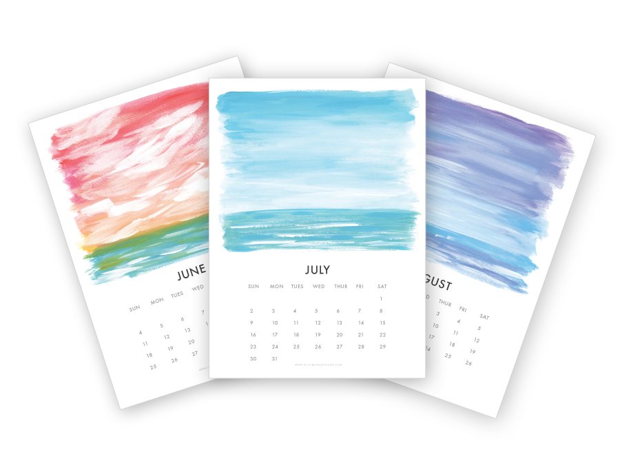 Free Printable Calendar | Free Calendar Download | Seascape Calendar |