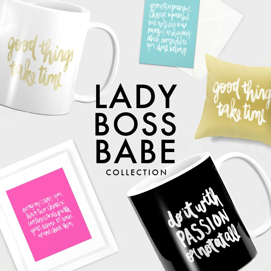 Lady Boss Babe Collection   Watercolor Lettering   Inspirational Quotes   2017 Goals