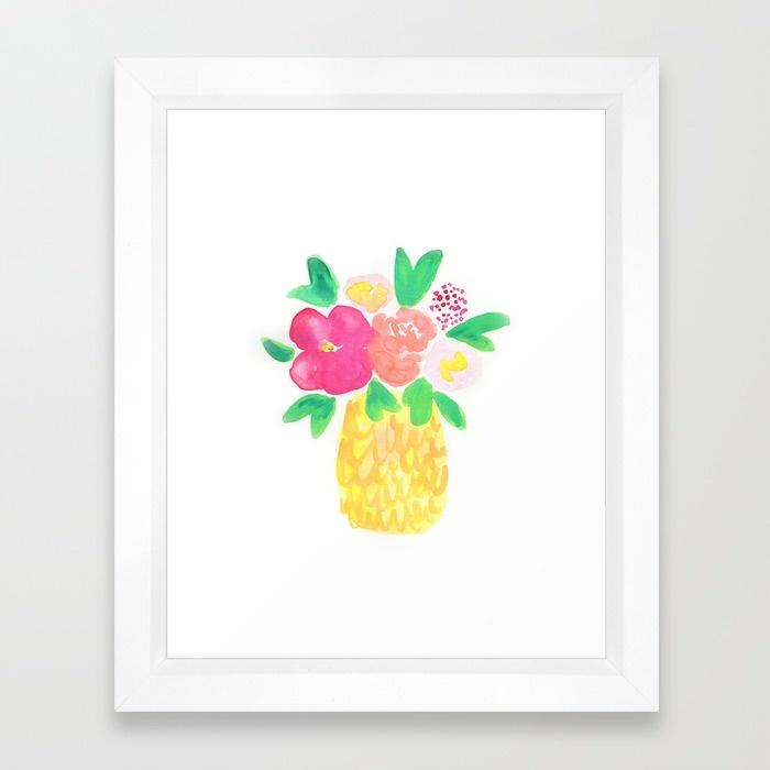 Watercolor Pineapple Flower Bouquet | Hello Monday Design