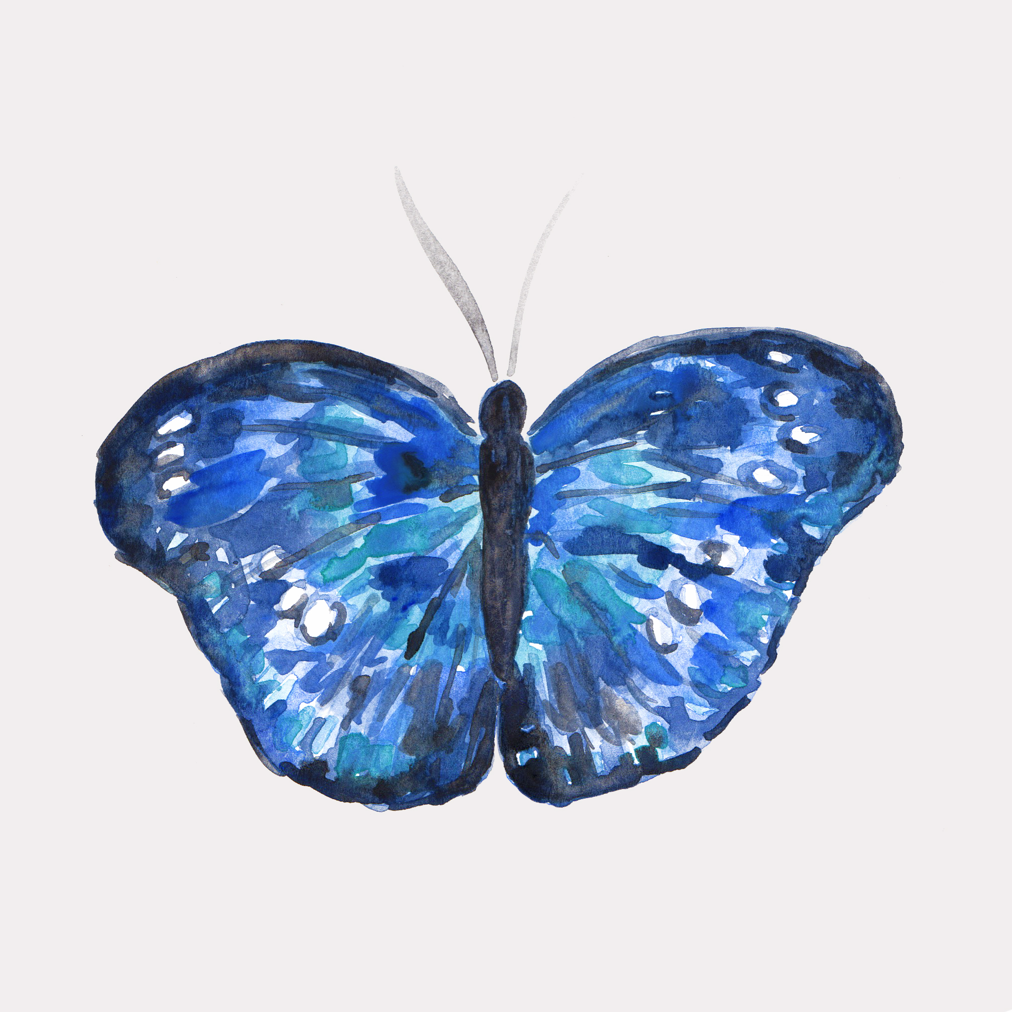Watercolor butterfly thyroid awareness month