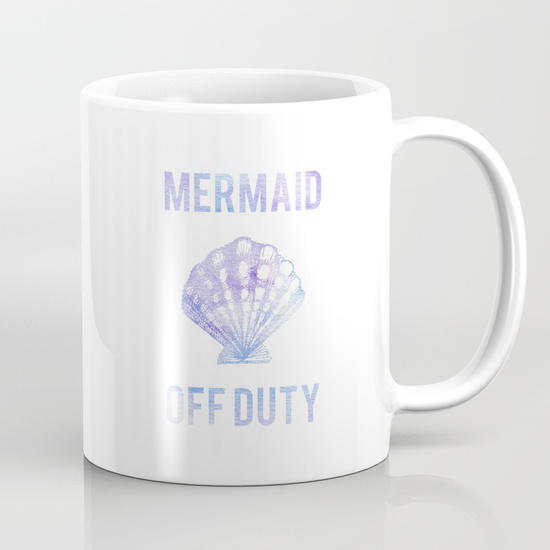 Kristen Laczi Mermaid Off Duty Coffee Mug White
