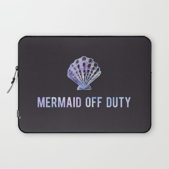 Kristen Laczi Mermaid Off Duty Laptop Sleeve - Black