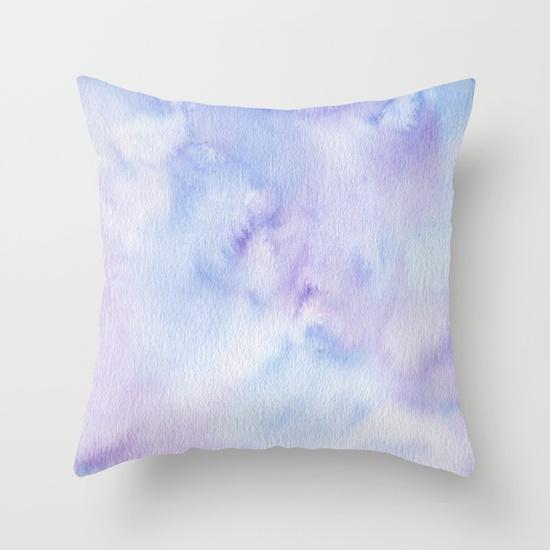 Kristen Laczi Mermaid Watercolor Purple Blue Ombre Throw Pillow