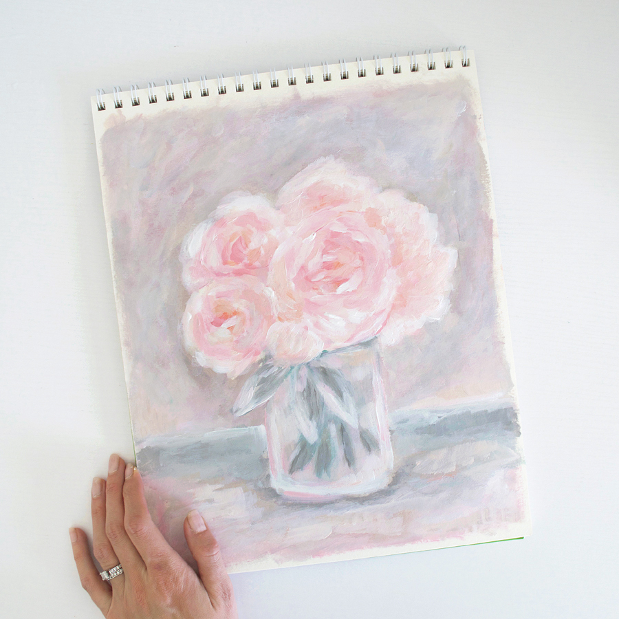 Pink Peonies | Floral Bouquet | Floral Painting by Kristen Laczi | 30 Paintings in 30 Days