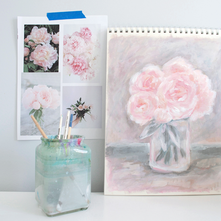 Pink Peonies Floral Painting by Kristen Laczi | 30 Paintings in 30 Days