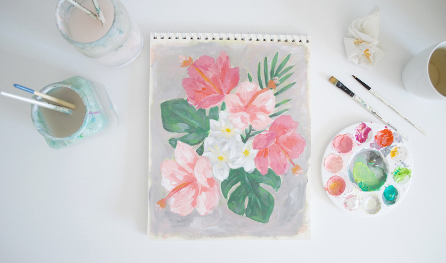 Kristen Laczi Tropical Hibiscus Painting