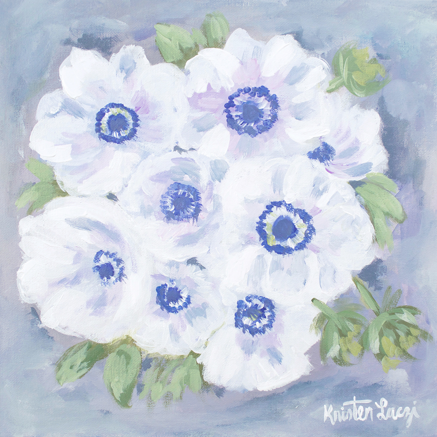 Anemone Painting by Kristen Laczi | 30 Paintings in 30 Days