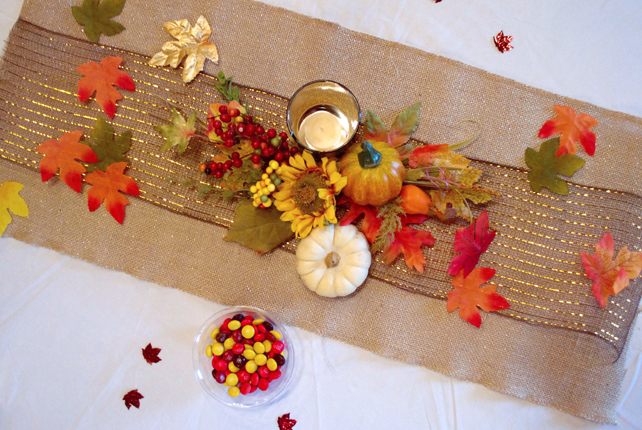 fall baby shower table set up