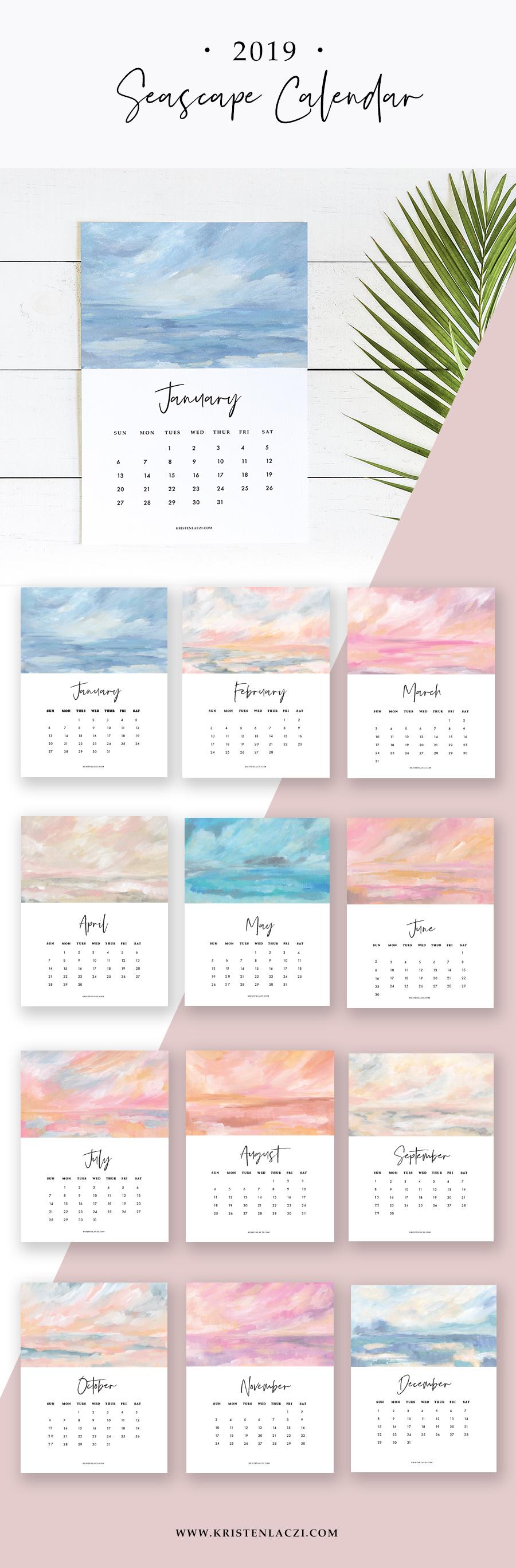 2019 Seascape Calendar by Kristen Laczi