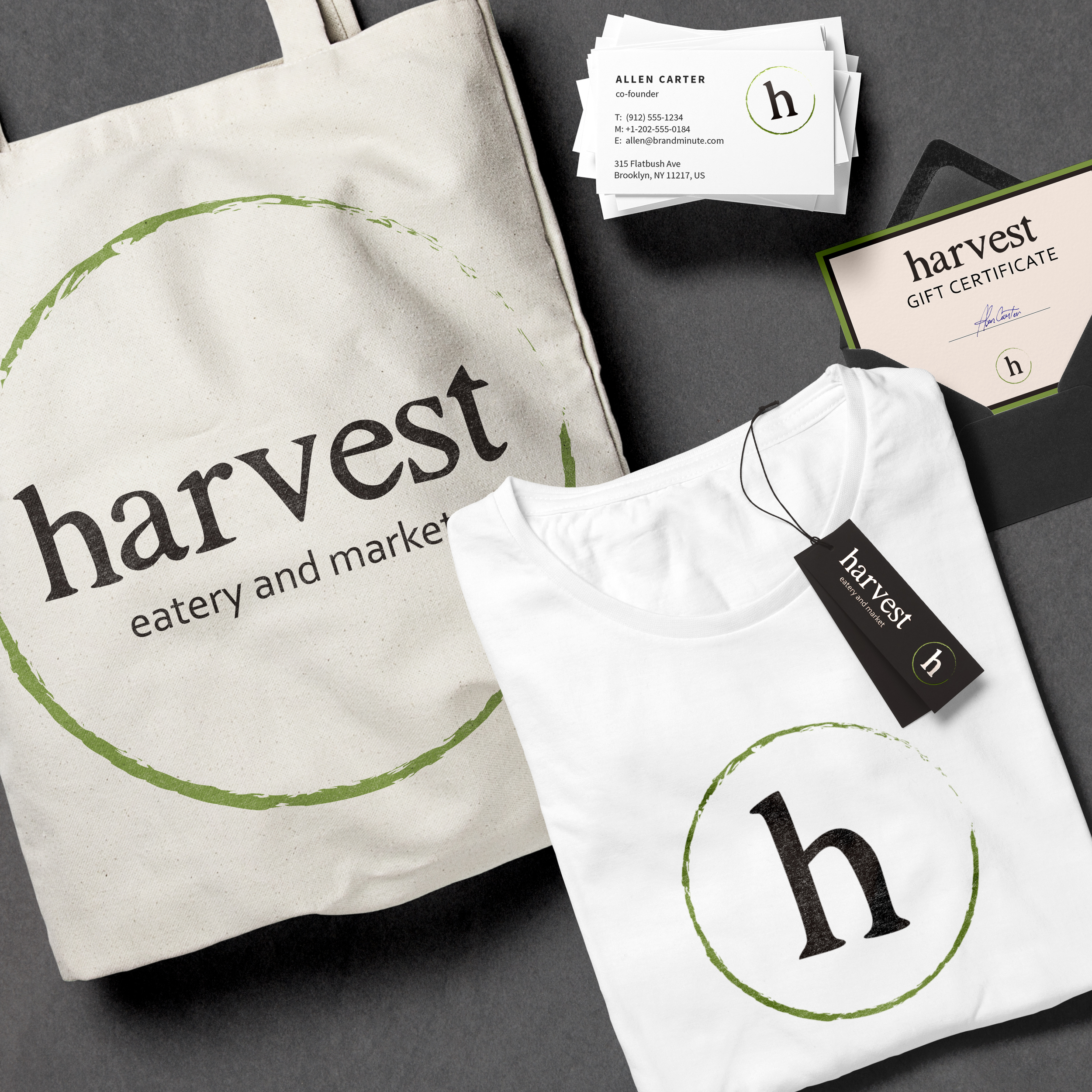 Harvest Eatery and Market | Lemon and the Sea: Brand touchpoints including business cards, bags, t-shirts, and stationary.