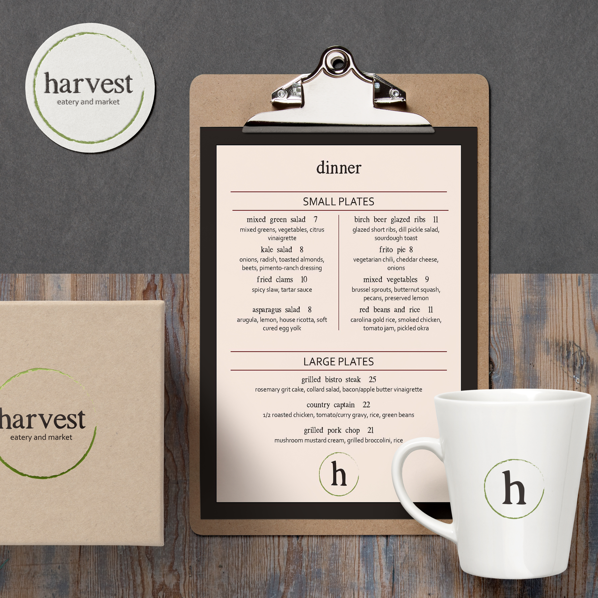 Harvest Eatery and Market | Lemon and the Sea: Brand touchpoints including menu design, take out boxes, coasters, and coffee mugs.